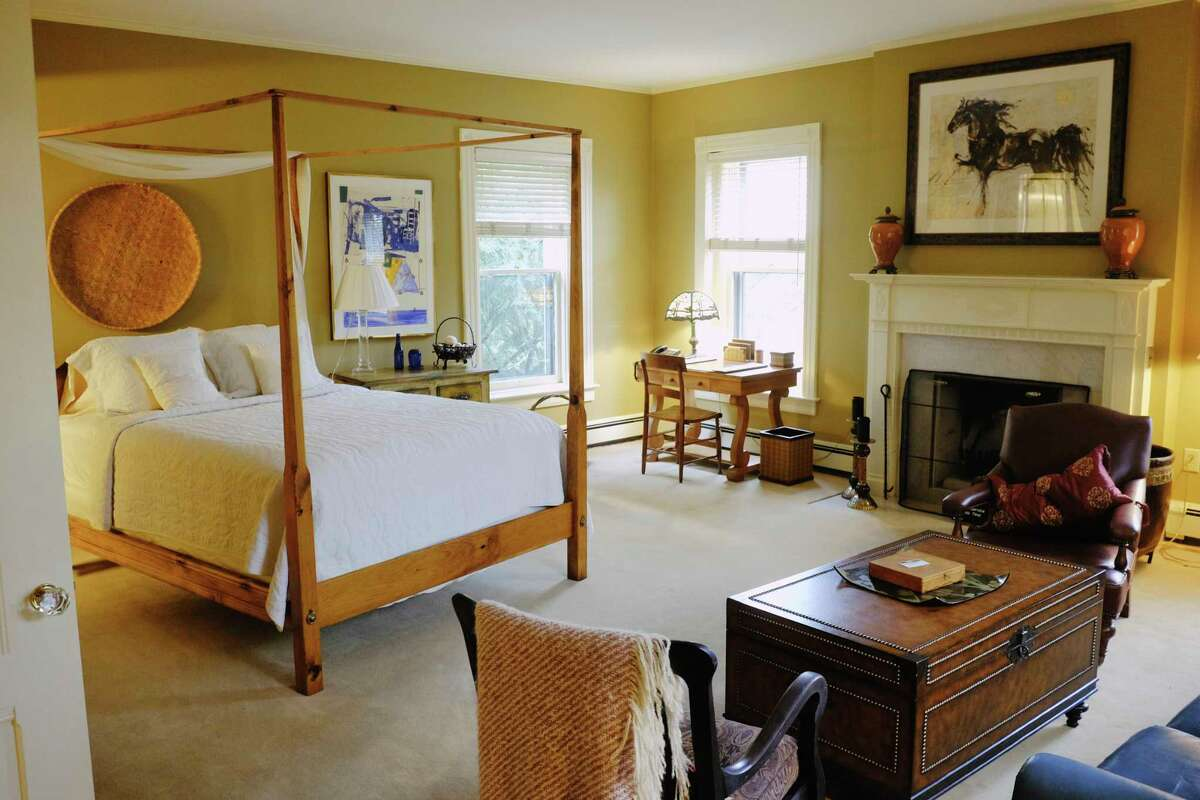 A view of one of the guest rooms inside the Brackett house on North Broadway on Monday, Oct. 26, 2020, in Saratoga Springs, N.Y. The home, owned by Quad/Graphics, is up for sale. (Paul Buckowski/Times Union)