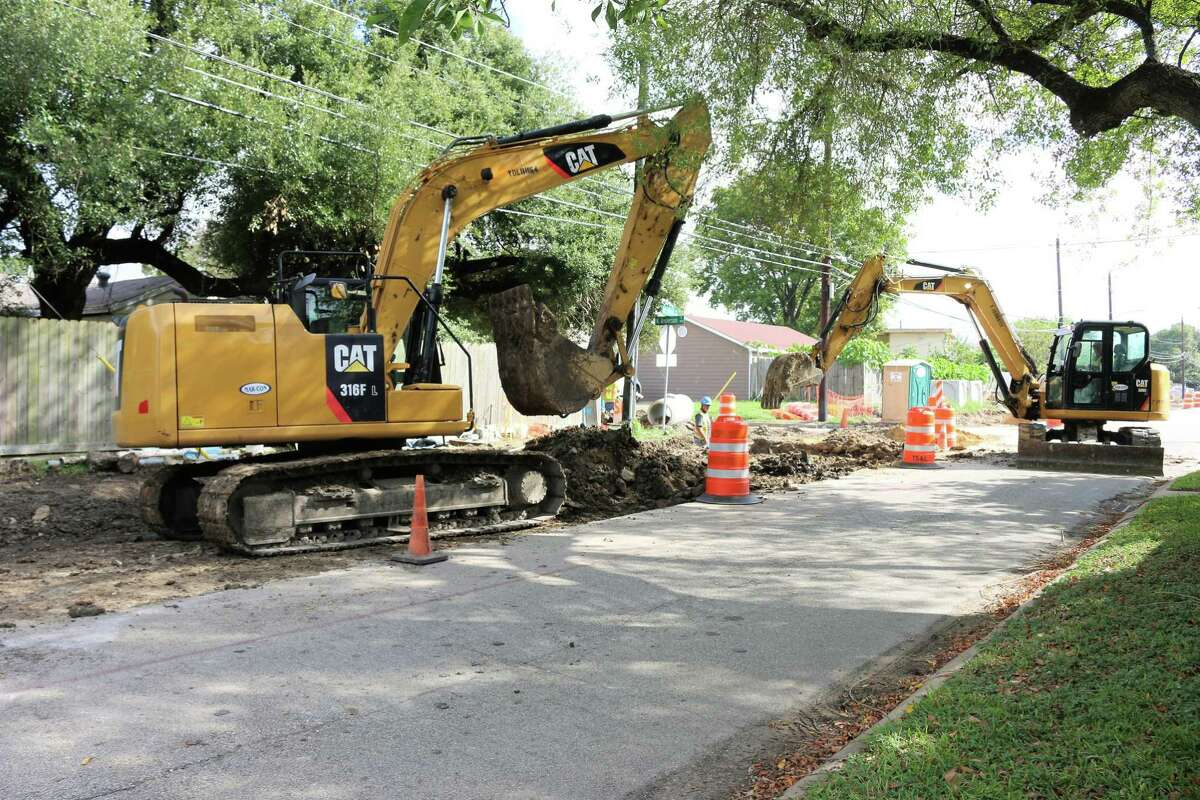 Excavators go into action at the intersection of Shaw Avenue and North Anderson in Pasadena. A stretch of Shaw is being upgraded through a $2.8 million project funded by the city's economic development council.