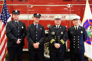 From left, Greenwich Fire Lt. Greg Sinapi, Fire Lt. Mike Wilson, Asst. Fire Chief Brian Koczak, and Deputy Fire Chief Eric Maziarz pose after being promoted at the Public Safety Complex in Greenwich, Conn. Monday, Oct. 26, 2020.