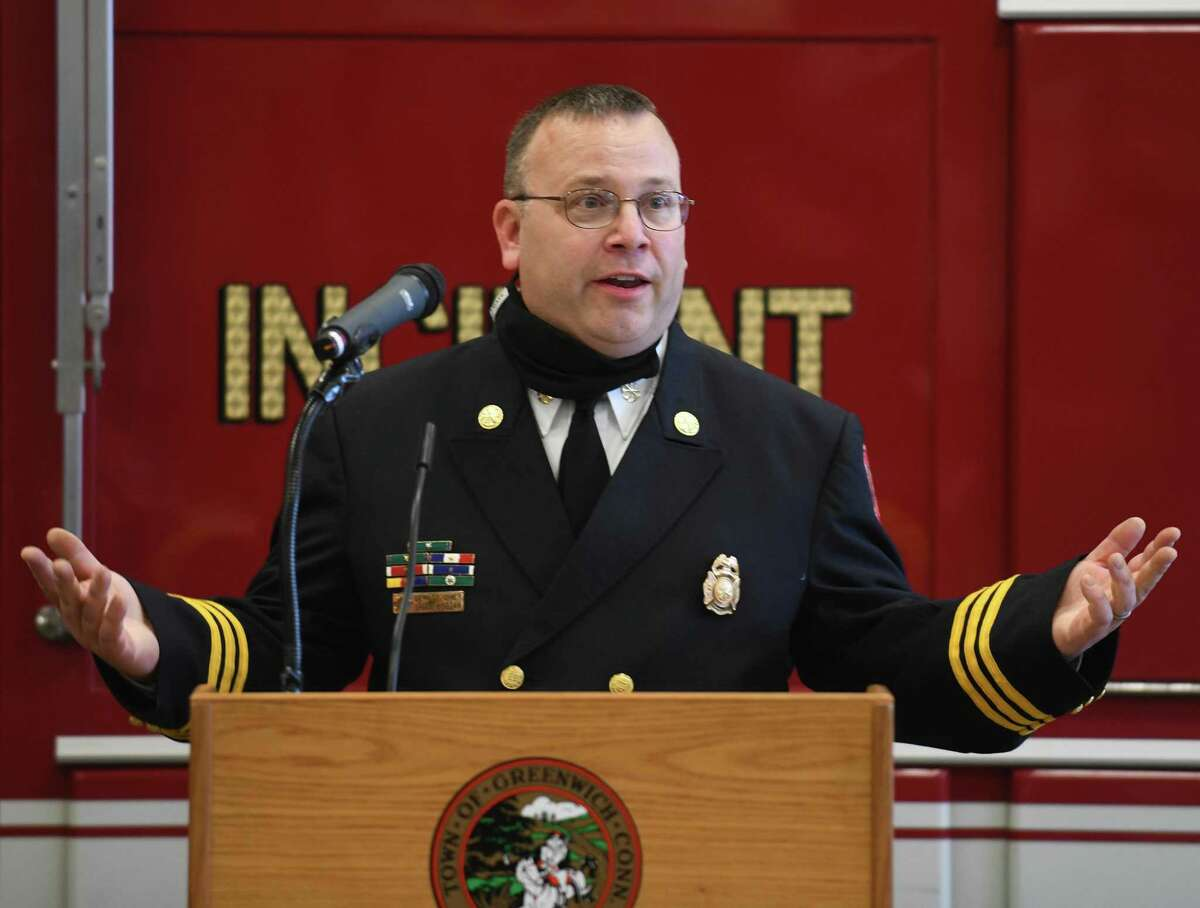 Brian Koczak speaks after being promoted to Assistant Fire Chief at the Public Safety Complex in Greenwich, Conn. Monday, Oct. 26, 2020.