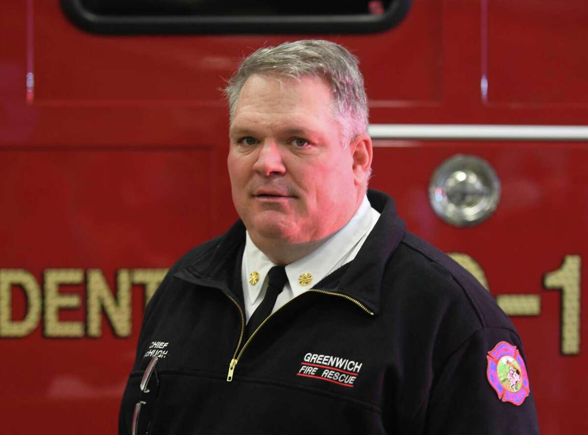 Greenwich Fire Chief Joseph McHugh poses at the Public Safety Complex in Greenwich, Conn. Monday, Oct. 26, 2020.