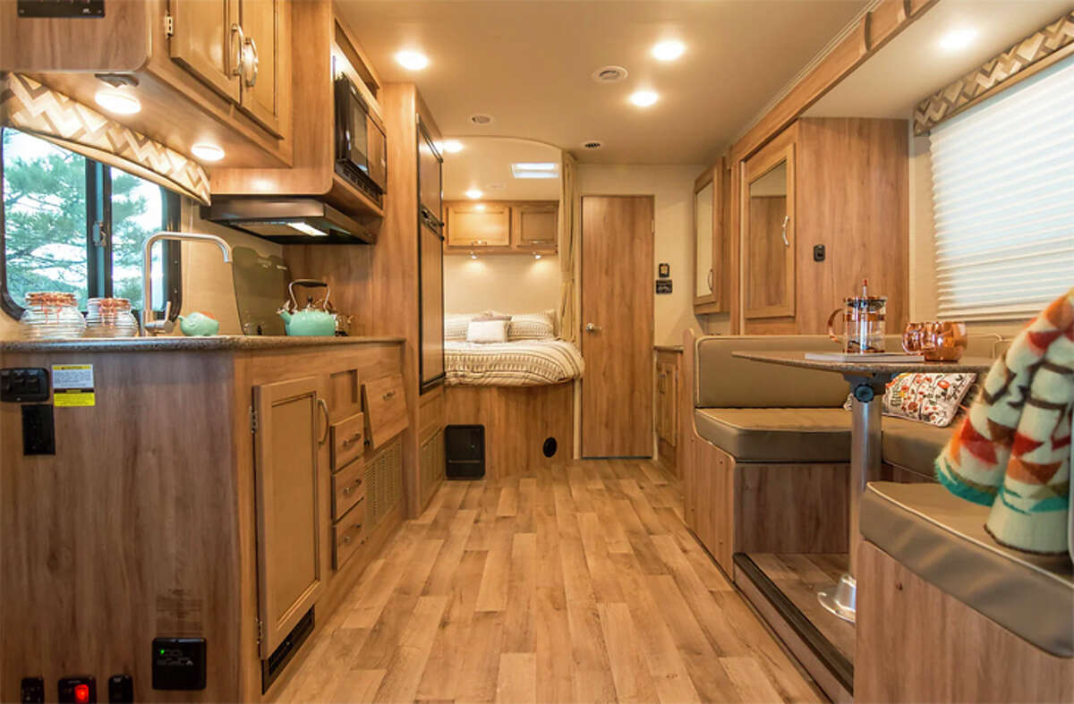 A rental RV's interior offers many of the comforts of home.