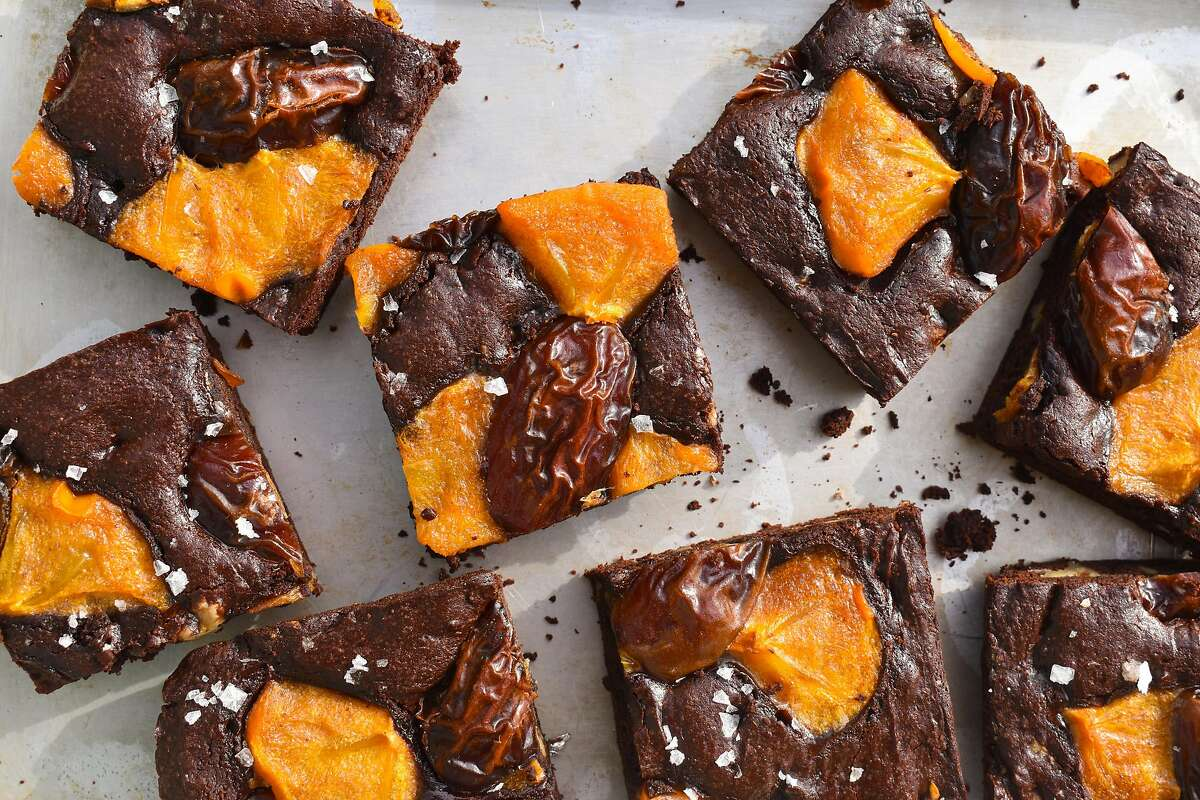 Brownies get a seasonal update with Fuyu persimmons and Medjool dates.