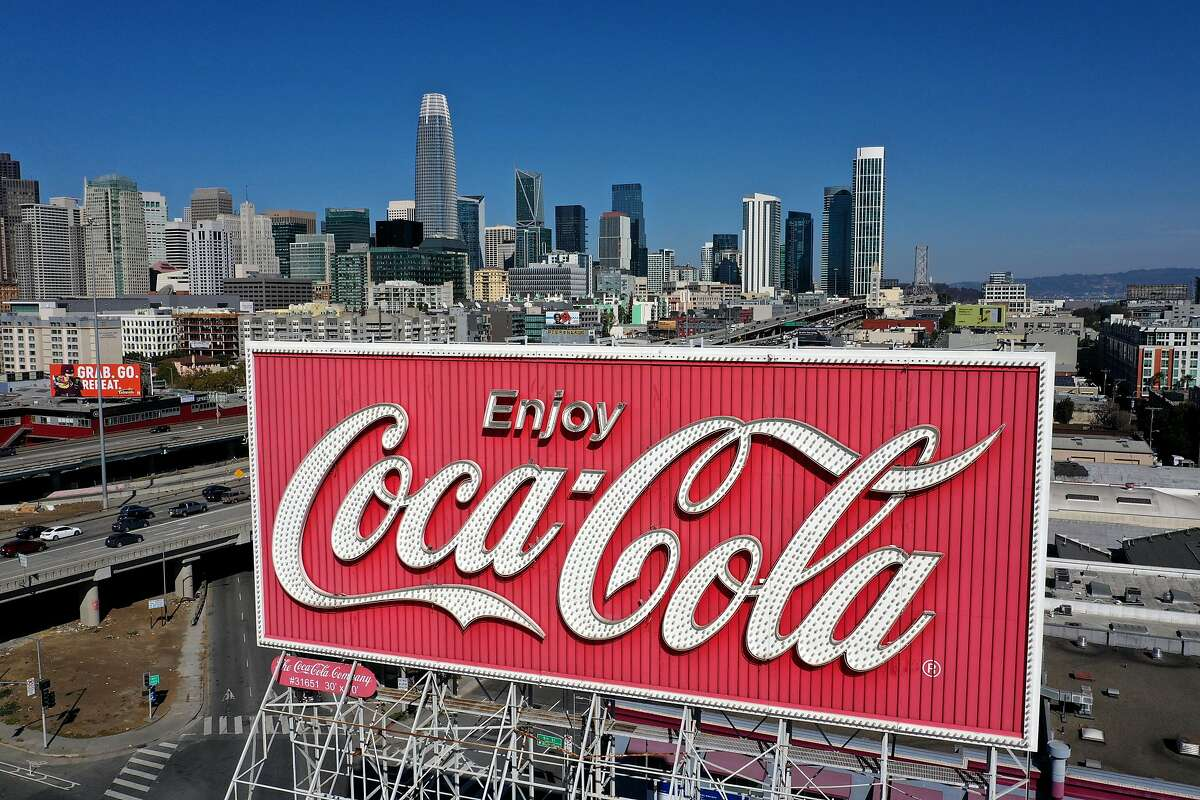 SAN FRANCISCO, CALIFORNIA - OCTOBER 26: An aerial drone view of a Coca-Cola billboard in the South of Market Area on October 26, 2020 in San Francisco, California. A Coca-Cola billboard that has been park of San Francisco's South of Market landscape since 1937 is slated to be taken down by the Coca-Cola company. The removal will cost an estimated $100,000. (Photo by Justin Sullivan/Getty Images)
