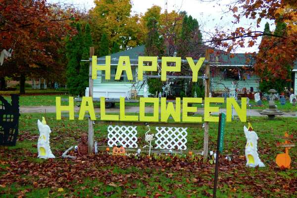 This large Halloween display greets travelers along U.S. 31. (Scott Fraley/News Advocate)