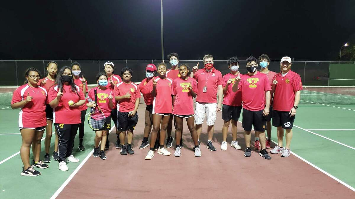 The Stafford tennis team won its first district championship, clinching the 23-4A title with an 18-1 victory against Harmony School of Discovery. The Spartans will face Hargrave or Vidor in the area playoffs.