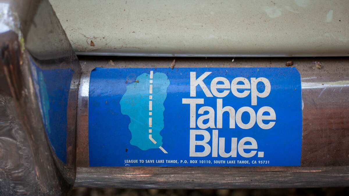 An older version of the Keep Tahoe Blue sticker marked the California-Nevada stateline, but otherwise, the sticker has been almost unchanged since it was first printed in 1973.