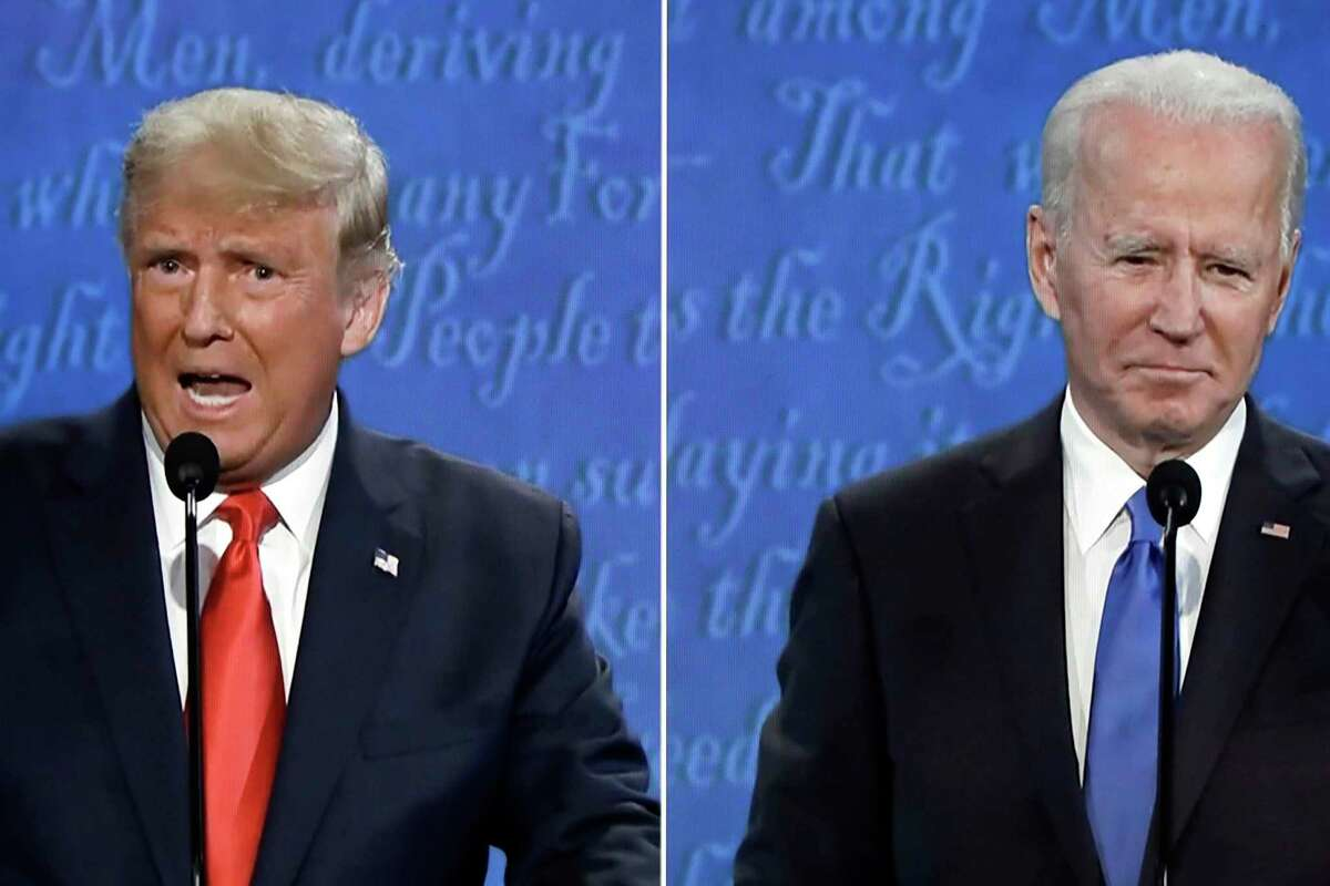 Final 2020 presidential campaign debate between President Donald Trump and Democratic presidential nominee Joe Biden in Nashville, Tennessee, is seen on TV in Washington, D.C., on Thursday, Oct. 22, 2020. (Yuri Gripas/Abaca Press/TNS)