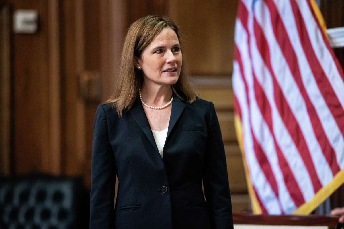 Judge Amy Coney Barrett, President Donald Trump's nominee for Supreme Court, during a meeting with Sen. Roy Blunt (R-Mo.) on Capitol in Washington, Wednesday, Oct. 21, 2020. (Anna Moneymaker/The New York Times)