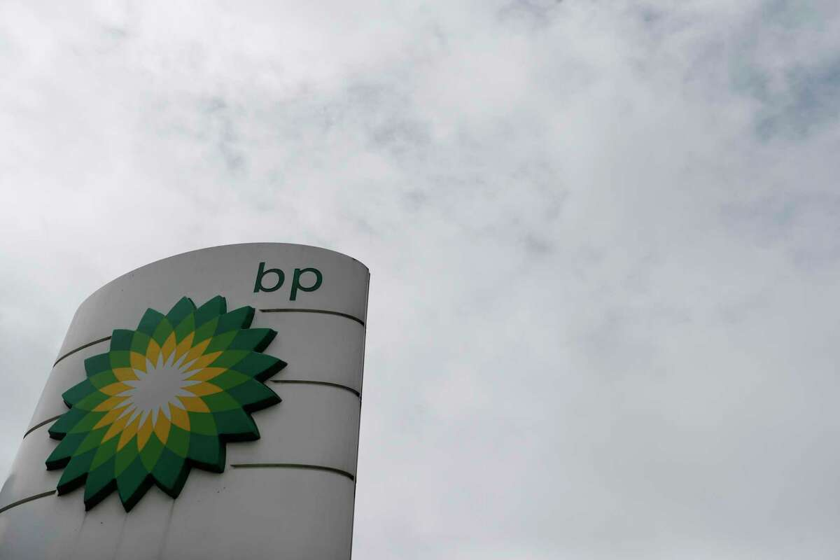 The logo of British Petroleum, BP, adorns a BP petrol station in west London, Tuesday, Aug. 4, 2020.