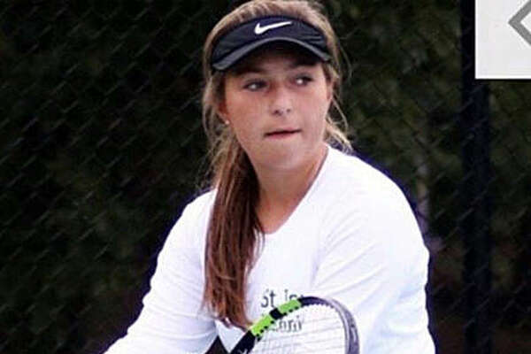Ellie Choate in action for the St. Joseph's Academy Angels. She is a three-time state champion in doubles.