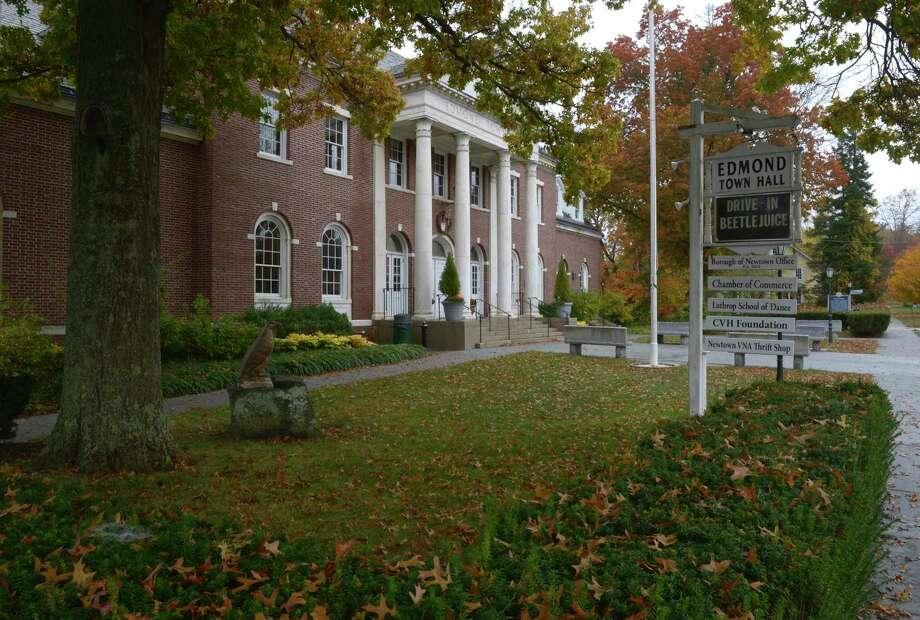 Newtown's historic Edmond Town Hall on Wednesday. Photo: H John Voorhees III / Hearst Connecticut Media / The News-Times