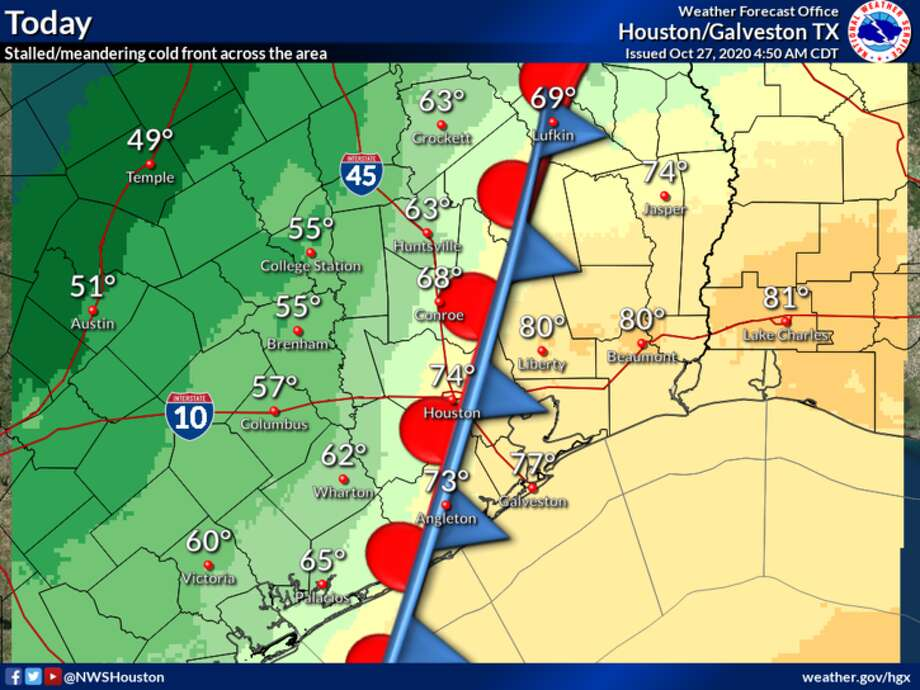Houston's weather Tuesday will be a tale of two cities. Photo: National Weather Service