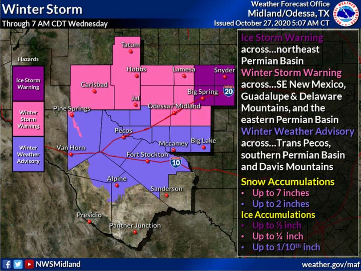 An Ice Storm Warning is in effect across the northeast Permian Basin. A Winter Storm Warning is in effect across southeast New Mexico, the Guadalupe and Delaware Mountains and the eastern Permian Basin. A Winter Weather Advisory is in effect across the Trans Pecos, southern Permian Basin and Davis Mountains. These are all in effect through Wednesday morning.
