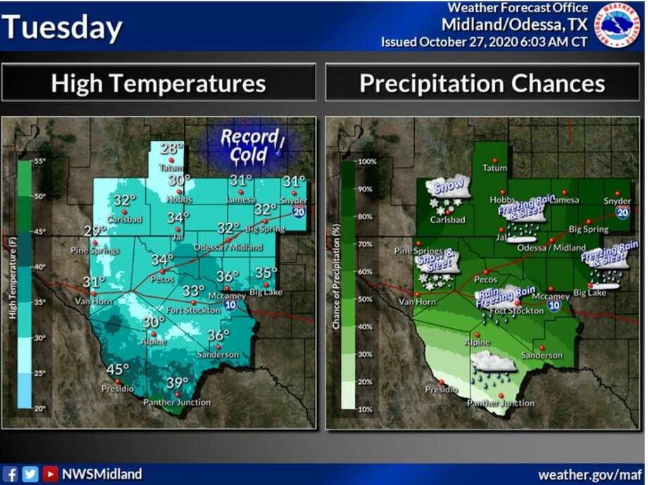 Very cold highs today ranging from the 20s north to 30s elsewhere. A few 40s will be possible along the Rio Grande. Snow, sleet, and freezing rain are expected across the region. Photo: Midland National Weather Service