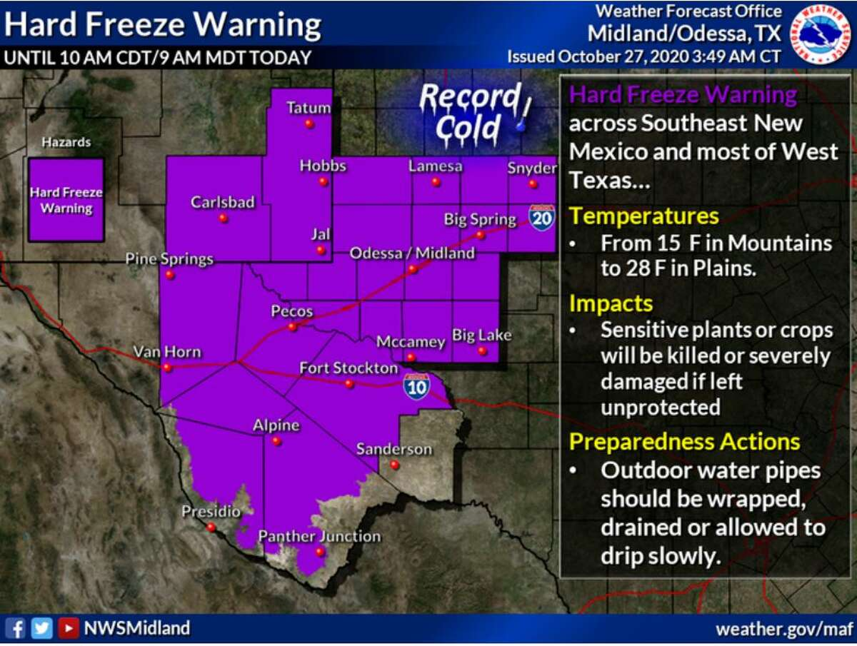 A Hard Freeze Warning is in effect for most of the area through this morning. Temperatures will be as low as 15 degrees in the mountains and 18 degrees in the plains.