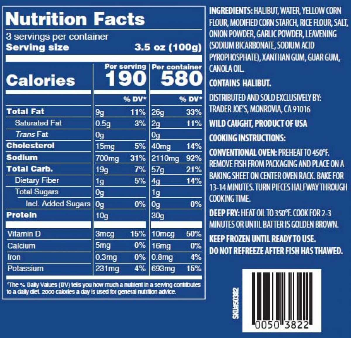 Trader Joe's Battered Halibut nutrition facts. Anyone who has the product can check the box for code 537312620