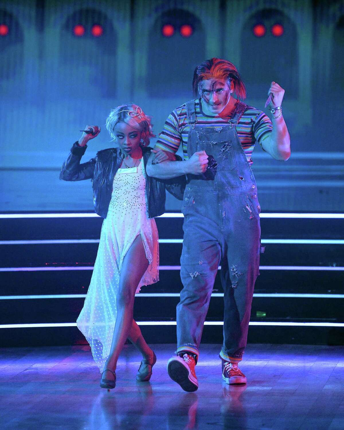 Skai Jackson: Pictured here with her Dancing With the Stars partner Alan Bersten, Skai dressed up as Tiffany Valentine from the Chucky movies.