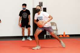 The United South High School basketball team practices, Thursday, Oct. 1, 2020, at a private basketball court.