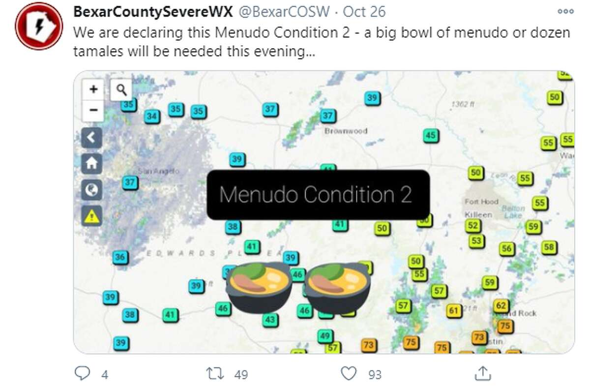 """The @BexarCountySevereWX account typically shares temperatures and weather warnings. On Monday, the account added some razzle dazzle to its forecast by adding """"menudo conditions."""""""