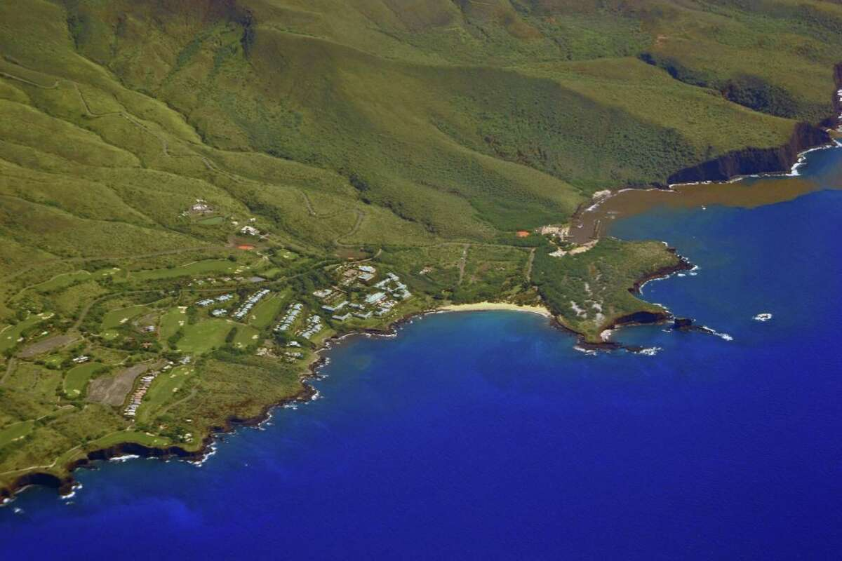 Aerial view of Hulopoe Beach and the Four Seasons Resort Lanai, currently closed due to a coronavirus outbreak.