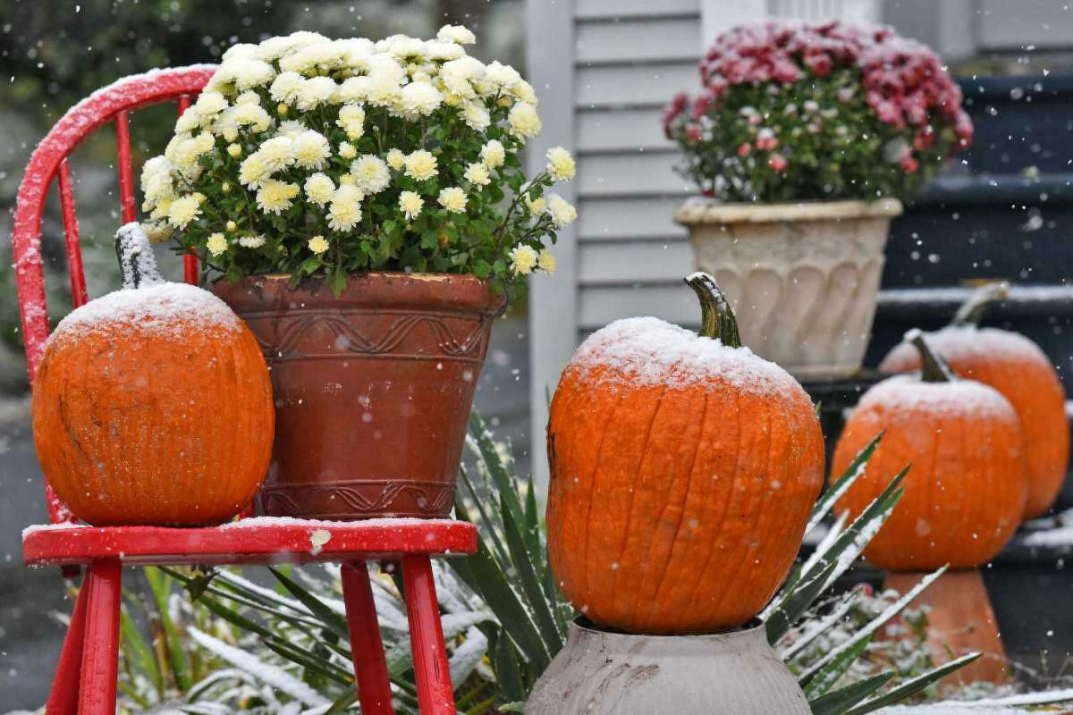 Fresh snow decorates a Halloween display Oct. 27, 2016 in Troy, NY.