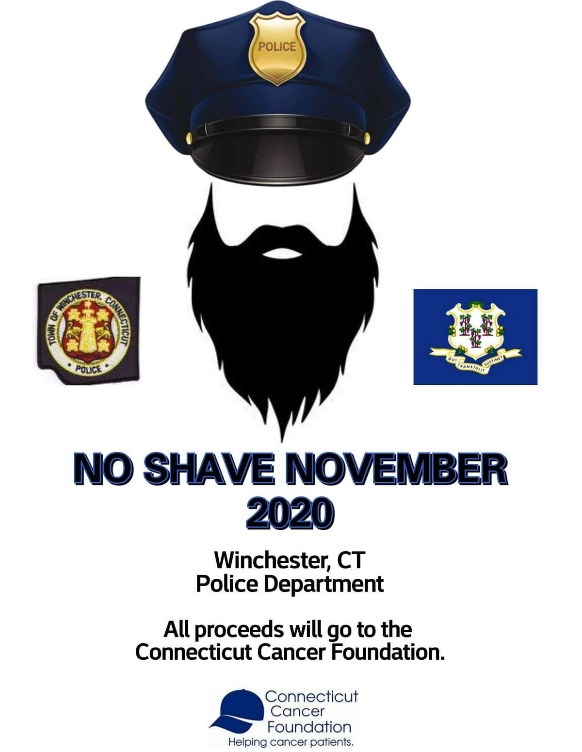 Winsted police officers are growing beards as a fundraiser in November and December.