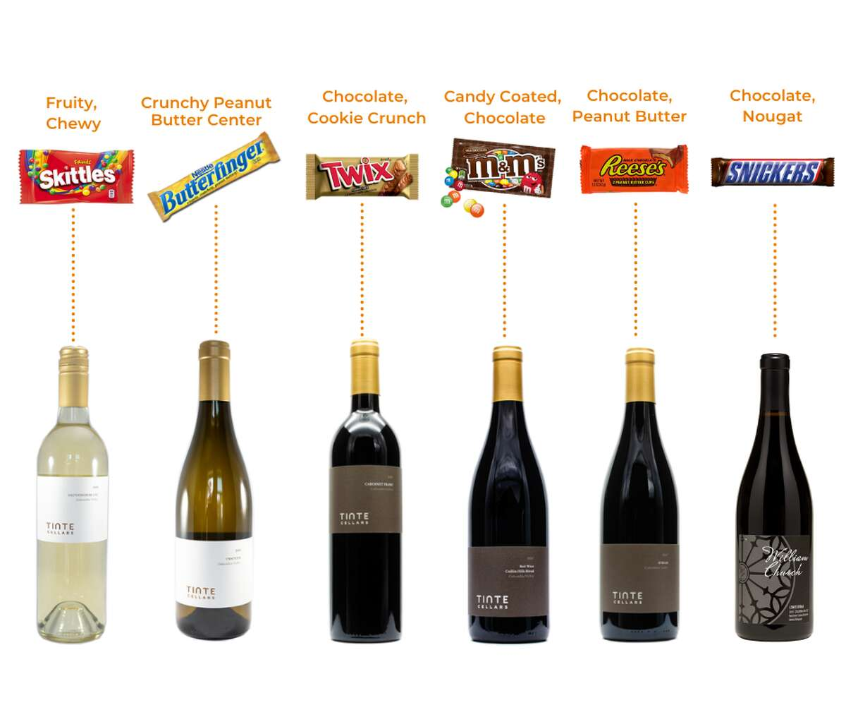 Second, they're suggesting a Butterfinger - or ten - with their 2019 Viognier. The crunchy peanut butter filling ought to match well with the wine's violet and honeysuckle notes for a round, silky palate. Third, they're matching the chocolate, cookie crunch of Twix with Tinte's 2017 Cabernet Franc - blended with a small amount of Cabernet Sauvignon and Petit Verdot for length. For Tinte's 2017 Cuillin Hills Blend and deep red wine, they're recommending none other than classic candy-coated M&M's. For their final two pairings, Tinte Cellars suggests joining sips of their 2017 Syrah with plenty of Reese's Peanut Butter Cups, and combining the notes of black currant, plum, white pepper and sage slipped in their 2015 William Church Lewis Syrah with the nougat tucked within Snickers.