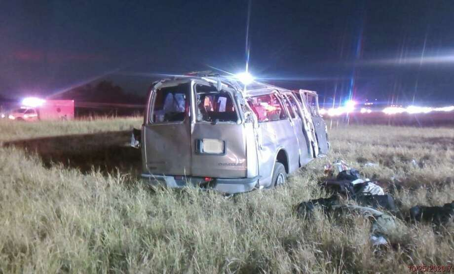 Several passengers were injured after this van rolled over in La Salle County. Photo: Courtesy Photo /Texas Department Of Public Safety