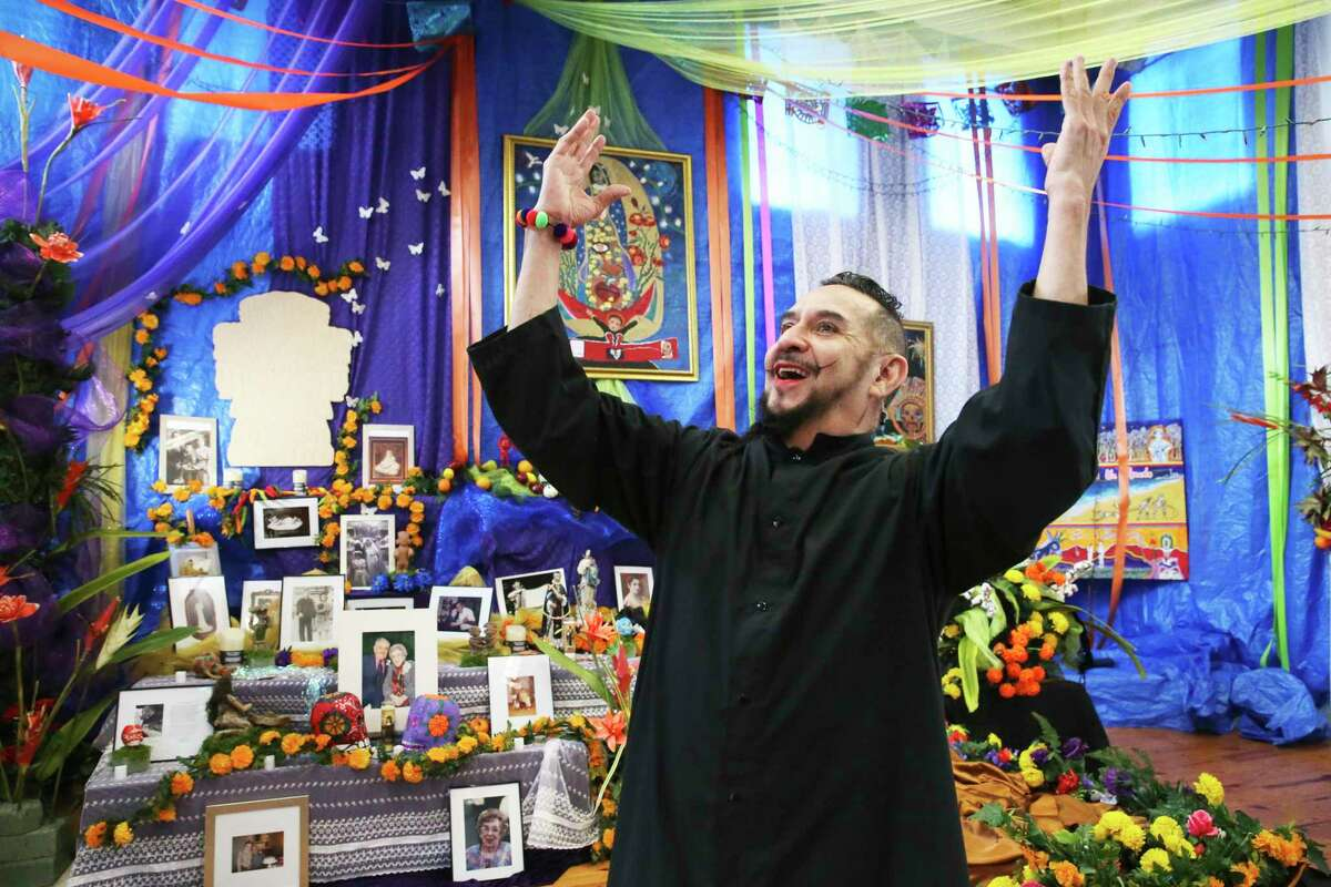David Zamora Casas, who has been creating public Day of the Dead altars for 30 years, is building one as part of an installation at Bihl Haus Arts.