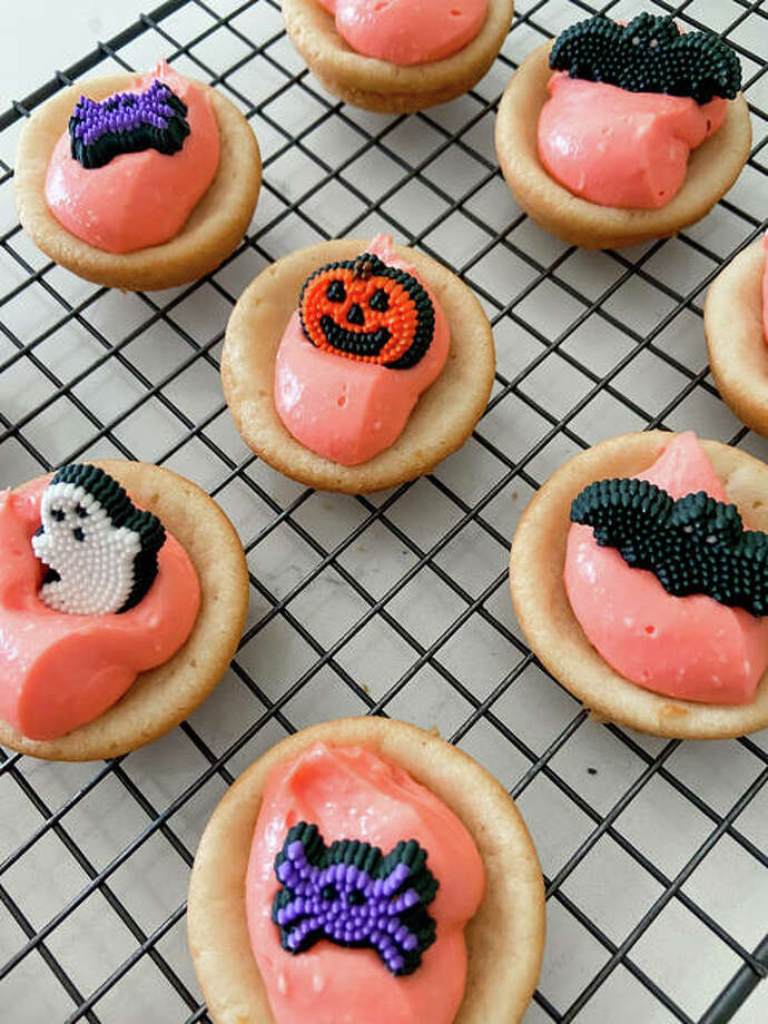 Sweet sugar cookie cups are decorated with edible Halloween goodies. Photo: Courtesy Of Rachel Tritsch