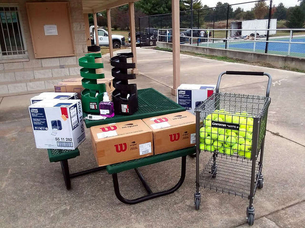 Some of the more than $2,000 worth of tennis equipment that was purchased by the Simpson Memorial Tennis Program, thanks to a grant from the United States Tennis Association and the USTA Missouri Valley chapter.