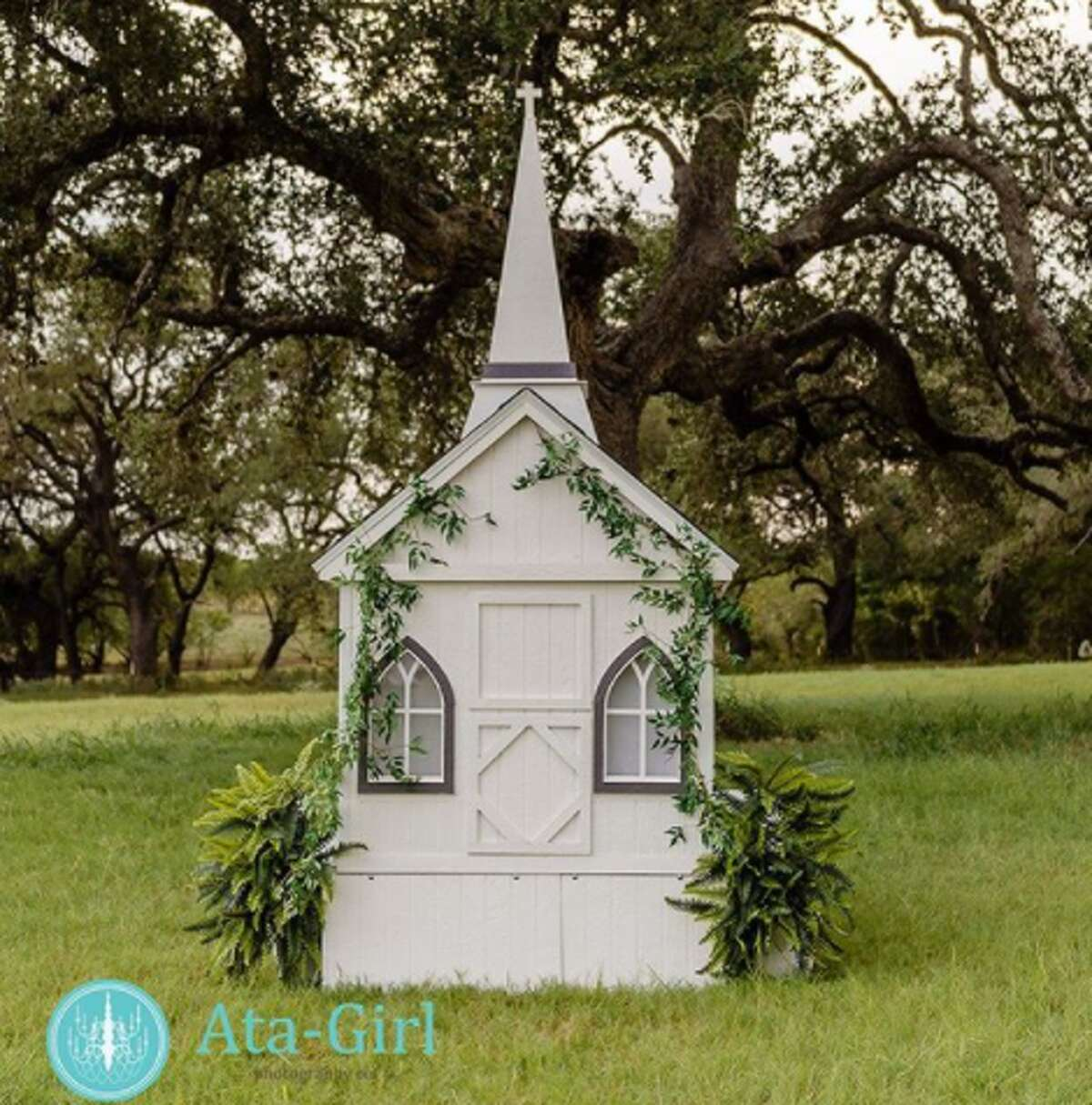 The little chapel is available for weddings in San Antonio or the surrounding Hill Country. Ravin Wolf says her husband built the chapel setup. It measures about 10- to 11-feet tall and about 6 1/2-feet wide.