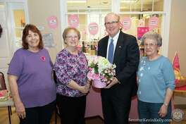 State Sen. Kevin Kelly with, left to right, Christine Crawford, Rose Goldspink and Marge Keene from The Valley Goes Pink at the 2019 Shelton Senior Center Health and Wellness Fair. The organization shared information about breast cancer early detection and awareness at the fair.