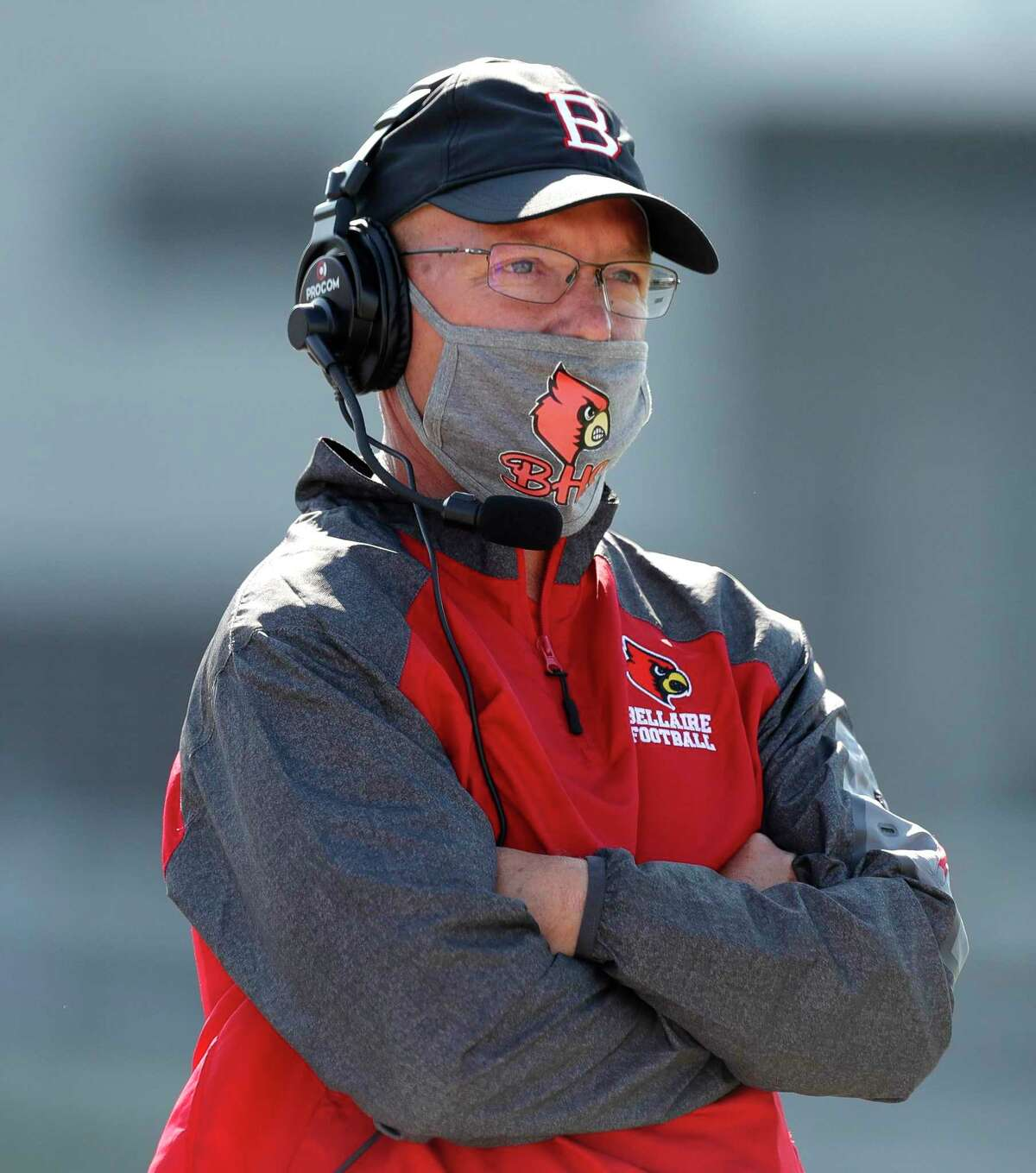 Bellaire head coach Herb Kunz is seen during the third quarter of a District 18-6A high school football game at Delmar Stadium, Saturday, Oct. 24, 2020, in Houston.