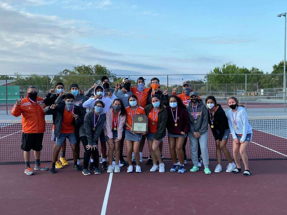 The United tennis team won the bi-district title this season after it defeated San Antonio Harlan 16-3 Monday. Photo: Courtesy Of United Athletics