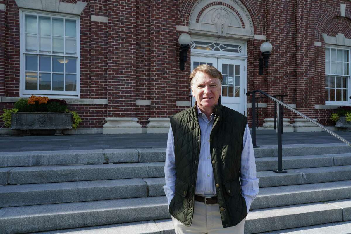 Bob Doran stood in front of New Canaan Town Hall on Monday, Oct. 19, 2020.