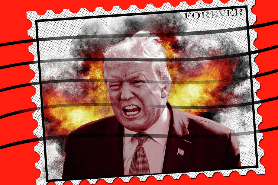 Photo: Photo Illustration By Joe Rodriguez. Images In Illustration Jabin Botsford/The Washington Post/Getty Images (Trump); T_kimura/Getty Images(stamp Outline); Jose A. Bernat Bacete/Getty Images(explosion)