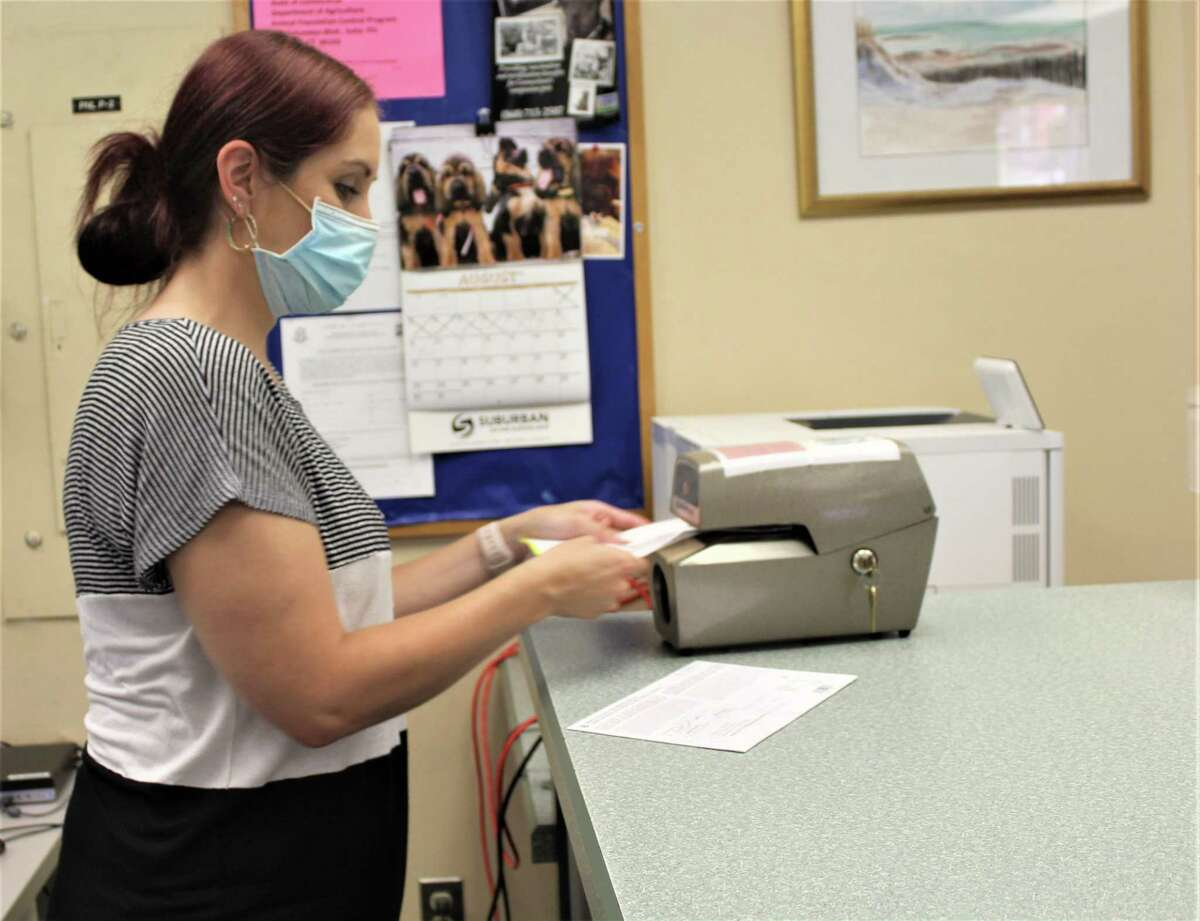 Middletown Town Clerk Ashley Flynn-Natale date stamps primary election absentee ballots received by her office in August.