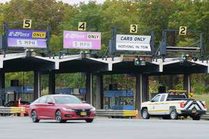 A view of the exit 24 toll plaza for Interstate 87 and Interstate 90 on Tuesday, Oct. 20, 2020, in Albany, N.Y.  (Paul Buckowski/Times Union)