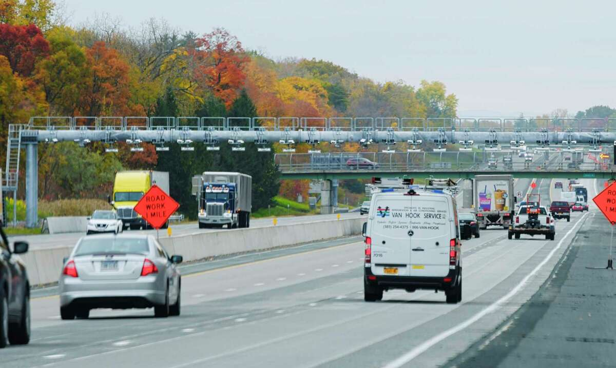 A view of the New York State Thruway Authority gantry on Interstate 87 between exit 24 and 23 on Tuesday, Oct. 20, 2020, in Albany, N.Y. (Paul Buckowski/Times Union)