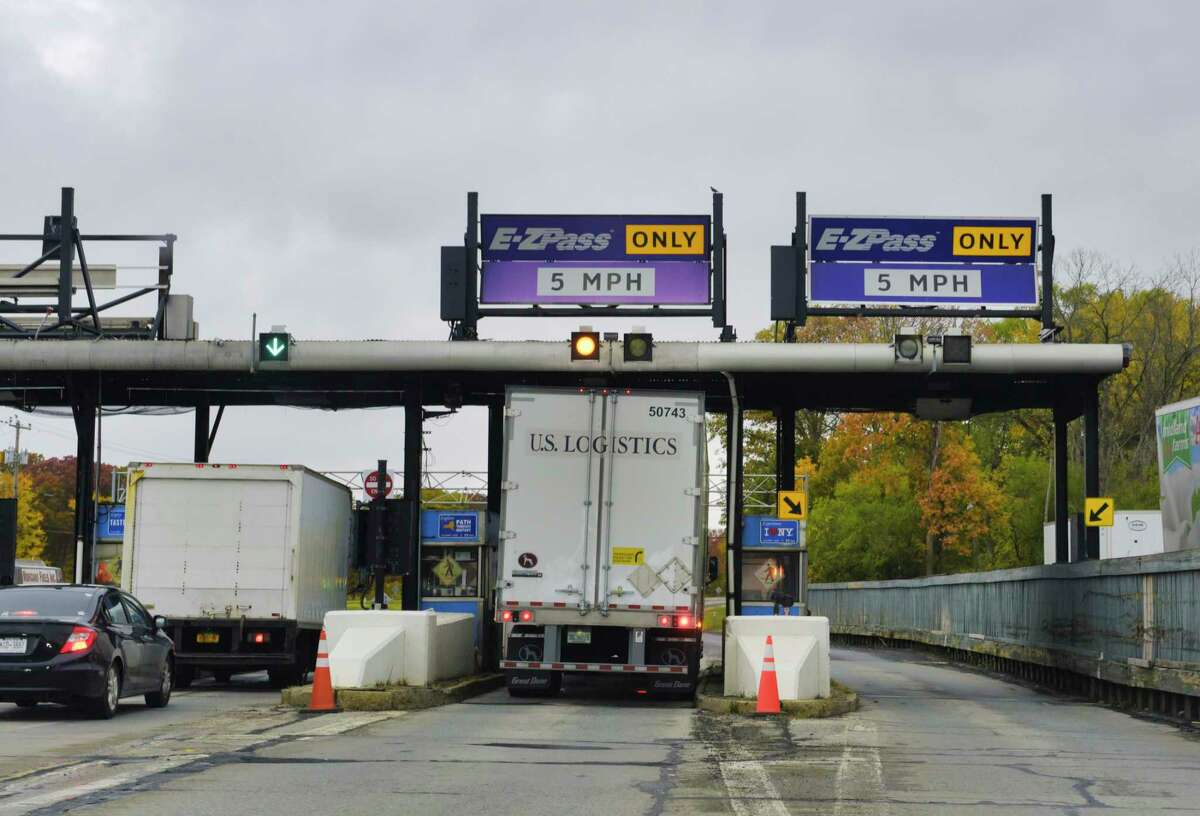 A view of the exit 23 toll plaza for Interstate 87 on Tuesday, Oct. 20, 2020, in Albany, N.Y. Exit 23 toll booth will be coming down soon, the state said in March 2021. (Paul Buckowski/Times Union)