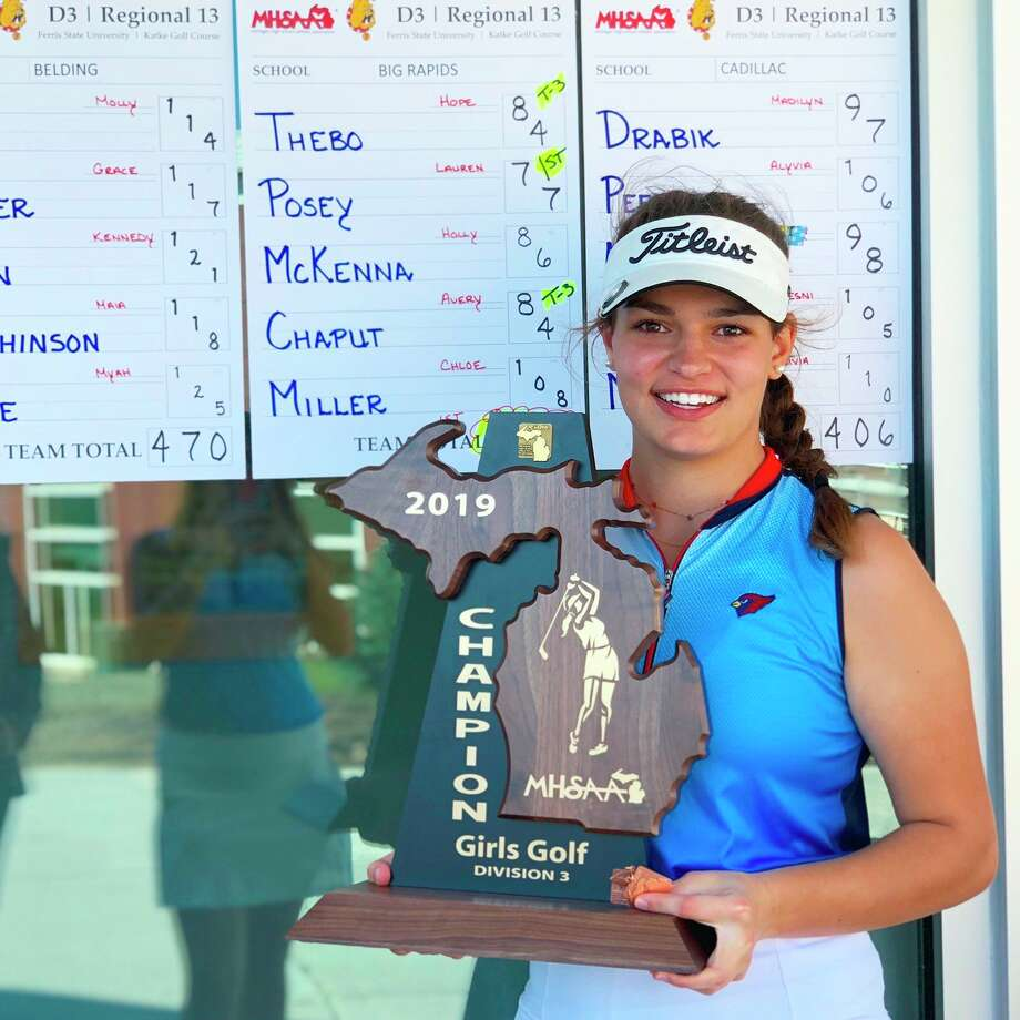 Big Rapids' Avery Chaput enjoyed many strong moments during her high school golf career including helping the Cardinals win the 2019 regional title. (Pioneer photo file)