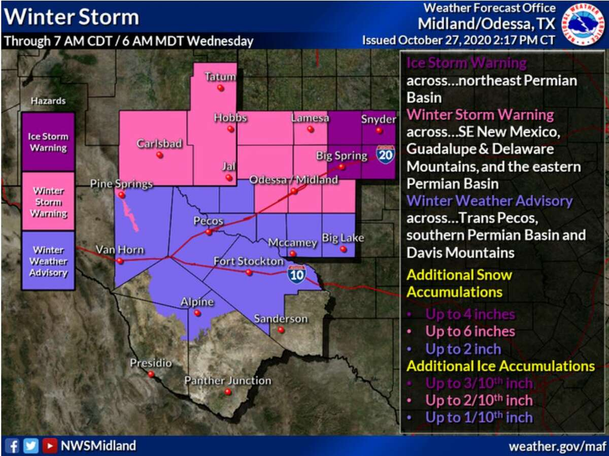 An Ice Storm Warning is in effect for the NE Permian Basin. A Winter Storm Warning is in effect for SE New Mexico, the Guadalupe and Delaware Mountains, and E Permian Basin. A Winter Weather Advisory is in effect for the Trans Pecos, S Permian Basin and Davis Mountains. These warnings and advisories are in effect until 7 AM CDT Wednesday.
