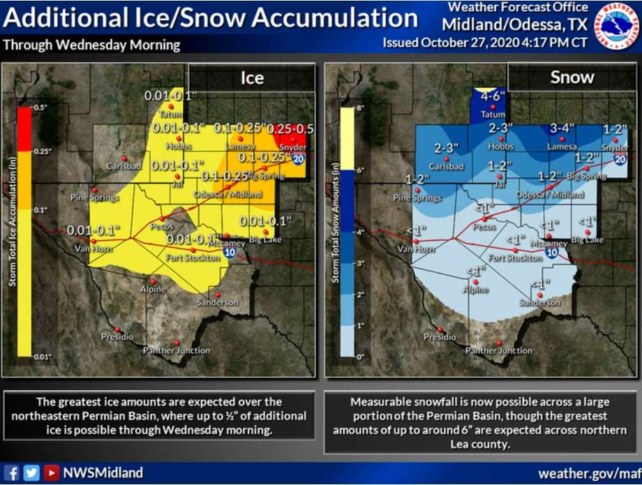 The NE Permian Basin will likely see the greatest additional ice accumulations with up to 1/2 an inch possible. SE New Mexico and along and north of the I-20 corridor will likely see the greatest additional snow accumulations with up to 6 inches possible. Photo: Midland National Weather Service