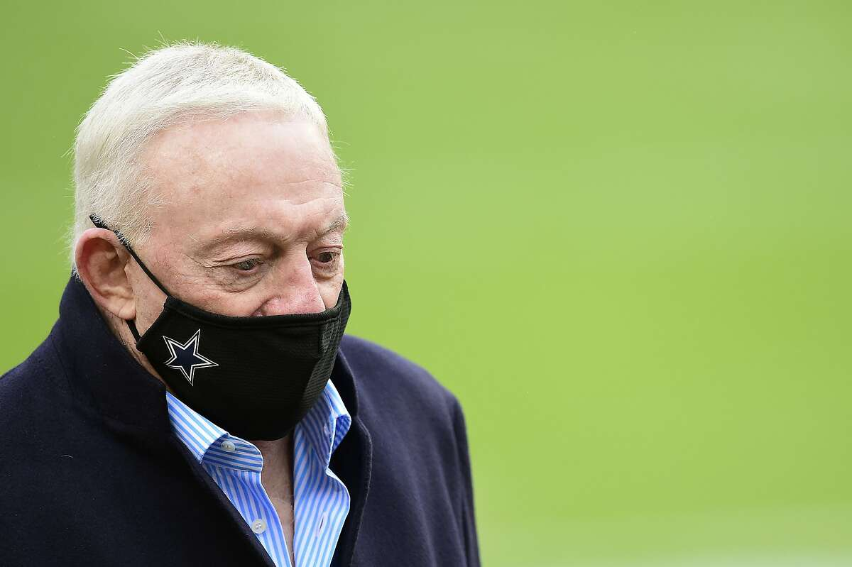 FILE: Jerry Jones, owner of the Dallas Cowboys, looks on before the game against the Washington Football Team at FedExField on October 25, 2020 in Landover, Maryland. (Photo by Patrick McDermott/Getty Images)