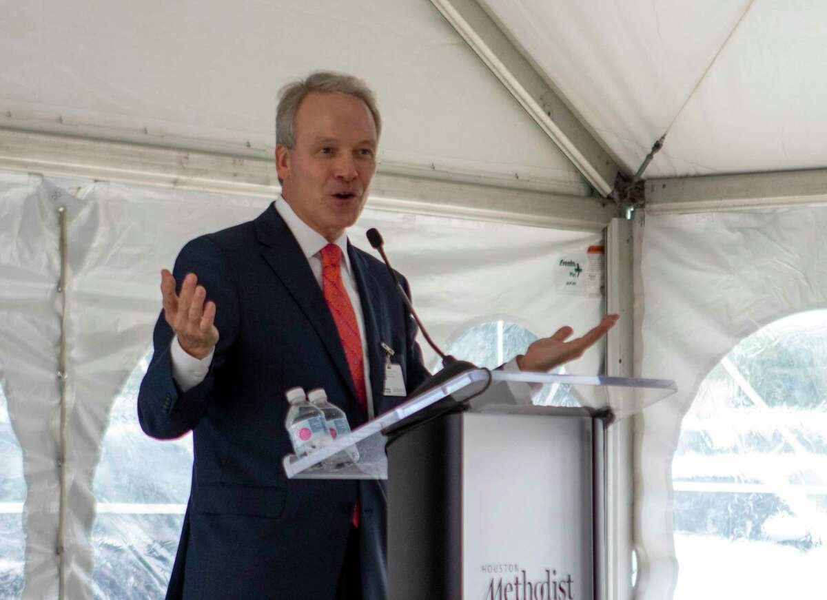 Houston Methodist CEO Marc Boom speaks during a groundbreaking ceremony Friday, Sept. 27, 2019 at Houston Methodist The Woodlands Hospital.
