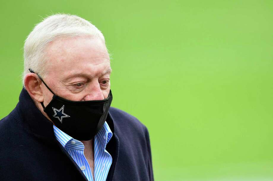 LANDOVER, MARYLAND - OCTOBER 25: Jerry Jones, owner of the Dallas Cowboys, looks on before the game against the Washington Football Team at FedExField on October 25, 2020 in Landover, Maryland. (Photo by Patrick McDermott/Getty Images) Photo: Patrick McDermott, Stringer / Getty Images / 2020 Getty Images