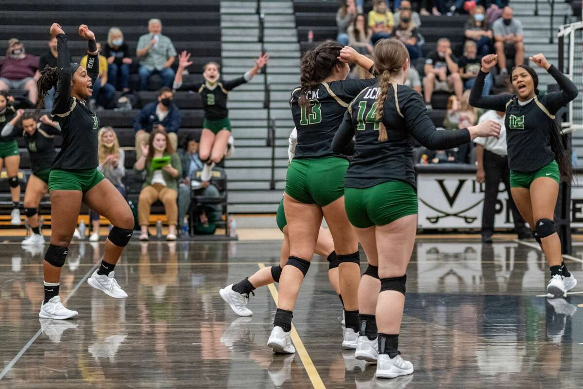 The Lady Bears celebrate a point in the third and final set. The Lady Pirates of Vidor took on the Little Cypress-Mauriceville Lady Bears in a volleyball contest to determine who will be the No. 3 seed from 22-4A district. Photo made on October 27, 2020. Fran Ruchalski/The Enterprise