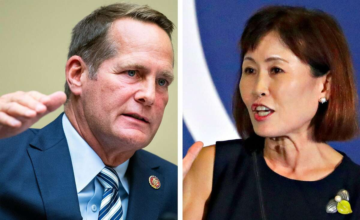 Democratic Rep. Harley Rouda of Orange County, left, and his election challenger, Republican Michelle Steel.
